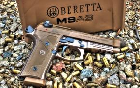 Обои пистолет, гильзы, M9A3, Beretta