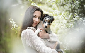 Картинка девушка, собака, весна