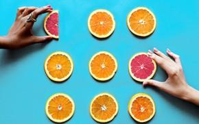 Картинка фон, апельсин, руки, кольцо, грейпфрут