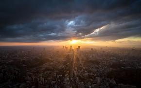 Обои Tokyo, город, закат
