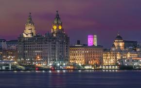 Обои река, фонари, ночь, Liverpool, огни, Ливерпуль, Англия, дома, причалы