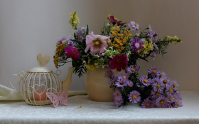 Картинка осень, букет, натюрморт, цветы полевые, октябринки