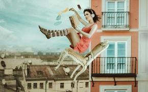 Картинка девушка, город, дома, наушники, стул, книга, полёт, криша, унесло