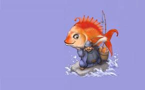 Картинка рыбка, Япония, арт, божок, мифология, Ebisu, Эбису