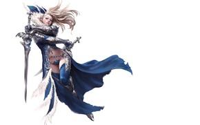 Обои оружие, взгляд, мечи, девушка, фон, эльфийка, фэнтази