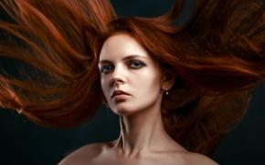 Картинка волосы, макияж, рыжеволосая, взмах