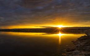 Картинка море, небо, закат, тучи, берег