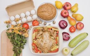 Картинка цветы, еда, яйца, хлеб, фрукты, овощи, запеченная курица