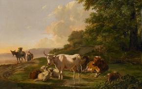 Картинка животные, дерево, масло, корова, картина, Пейзаж с Крупным Рогатым Скотом, Питер Герардус ван Ос