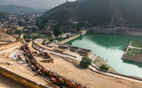 Картинка Панорама, Индия, Слоны, Panorama, Rajasthan, Udaipur, Раджастхан, Удайпур, İndia