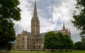 Картинка зелень, трава, облака, деревья, парк, газон, Англия, собор, дворец, Salisbury Cathedral