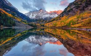 Обои отражения, деревья, горы, озеро, осень