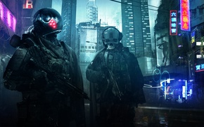 Картинка город, оружие, фантастика, улица, вечер, роботы, солдаты