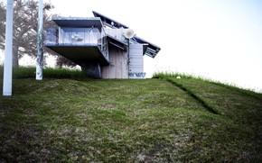 Картинка дом, холм, ветряки, living simply, view 01