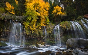 Обои осень, лес, деревья, река, камни, водопад, Калифорния, каскад, California, Sacramento River, Mossbrae Falls, Dunsmuir, Река ...