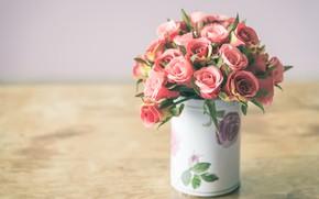Обои ваза, цветы, бутон розы, лепестки, букет, розовые, розы