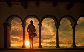 Картинка солнце, облака, обработка, девочка, арка