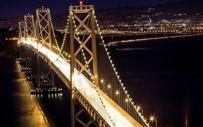 Обои город, мост, ночь, огни
