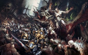 Картинка битва, воины, уроды, Warhammer 40 000, Flesh-eaters vs Anvils of the Heldenhammer