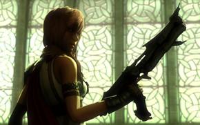 Картинка взгляд, девушка, рендеринг, оружие, Final Fantasy XIII, Lightning, square enix