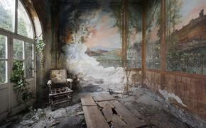 Картинка комната, кресло, дверь