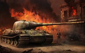Картинка война, арт, танк, Tank, Тигр II, Vitalii Smyk, Panzerkampfwagen VI Ausf.B, Королевский тигр II