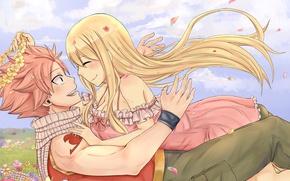 Картинка девушка, цветы, пара, парень, венок, anime, fairy tail, Lucy Heartfilia, Natsu Dragneel