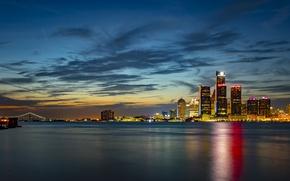Картинка небо, река, здания, Мичиган, ночной город, небоскрёбы, Detroit, Детройт, Michigan, река Детройт, Detroit River