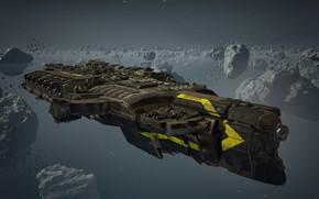 Картинка космос, желтый, камни, фантастика, корабль, game, метеориты, метеоры, Dreadnought, военный, game wallpapers, военный корабль, кольца ...