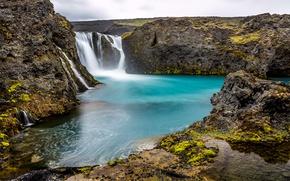 Картинка камни, скалы, водопад, Исландия, Sigoldufoss