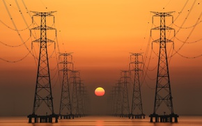 Обои ЛЭП, провода, солнце