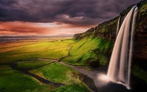 Картинка облака, водопад, вечер, Исландия