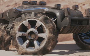 Картинка авто, кочевник, Mass Effect Andromeda, колеса машины