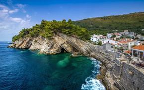 Картинка море, пейзаж, скалы, Montenegro Petrovac
