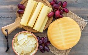 Картинка сыр, виноград, ассорти