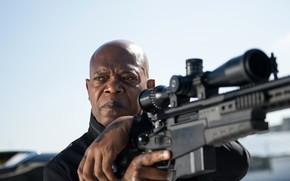 Обои оружие, кадр, оптика, винтовка, снайпер, Samuel L. Jackson, The Hitman's Bodyguard, боевик, Сэмюэл Л. Джексон, ...