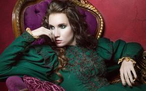 Картинка девушка, поза, стиль, настроение, модель, кресло, руки, платье, Melanie Kazmercyk