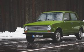 Обои круглые фары, Латвия, Зима, жигули, копейка, Sdmedia, зелёная, 2101, снег