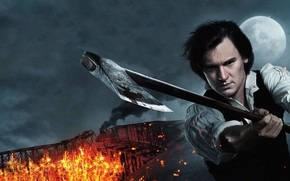 Картинка axe, cinema, fire, flame, man, movie, film, Vampire Hunter, hunter, spark, Abraham Lincoln: Vampire Hunter