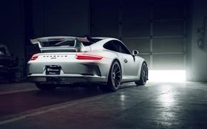 Картинка 911, Porsche, GT3, White, Supercar, Garage, Rear