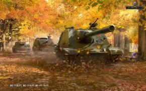 Обои парк, китайские, скамейка, деревья, аллея, WOT, листья, World of Tanks, WZ-113G FT, пт-сау, WZ-111-1G, желтые, ...