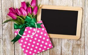 Картинка цветы, букет, пакет, тюльпаны, розовые, fresh, wood, pink, flowers, beautiful, tulips, spring, purple