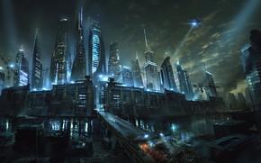 Обои река, фантастика, Лекарство от смерти, ночь, Бегущий в лабиринте, город, Maze Runner, Death Cure, дорога, ...