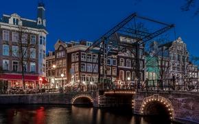 Картинка ночь, мост, огни, дома, Амстердам, канал, Нидерланды