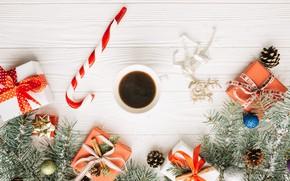 Картинка праздник, шары, новый год, кофе, ель, леденцы, украшение