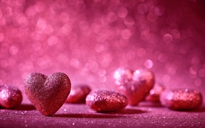 Обои romantic, hearts, bokeh, valentine`s day, love
