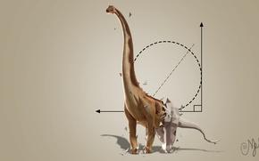 Картинка абстракция, динозавр, геометрические фигуры