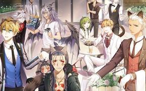 Картинка аниме, кафе, рога, парни, ушки, fate/grand order