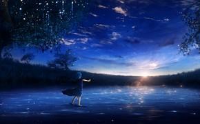 Картинка вода, девушка, закат, природа, Y_Y