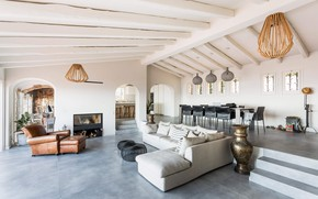 Картинка вилла, интерьер, камин, гостиная, столовая, House in Platja d'Aro